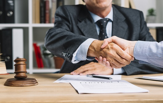 Lawyer His Client Shaking Hands Together Desk 23 2147898427