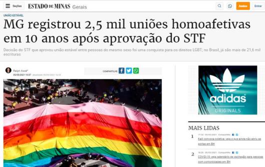 Estado de Minas – MG registrou 2,5 mil uniões homoafetivas em 10 anos após aprovação do STF