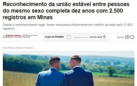 Rádio Itatiaia – Reconhecimento da união estável entre pessoas do mesmo sexo completa dez anos com 2.500 registros em Minas