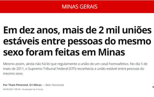 G1 – Em dez anos, mais de 2 mil uniões estáveis entre pessoas do mesmo sexo foram feitas em Minas