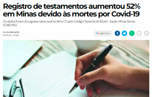 O Tempo – Registro De Testamentos Aumentou 52% Em Minas Devido às Mortes Por Covid-19